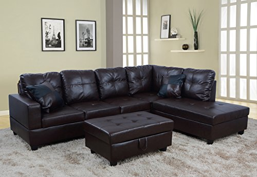 Beverly Fine Furniture F093B Right Facing Russes Sectional Sofa Set with Ottoman, F093B BROWN