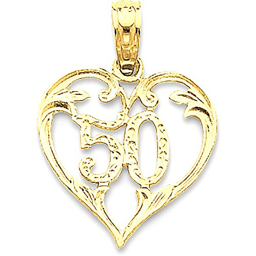 14k Gold Number 50 Inside Open Heart Pendant Charm - (Yellow Gold, 0.75 Inch Height)