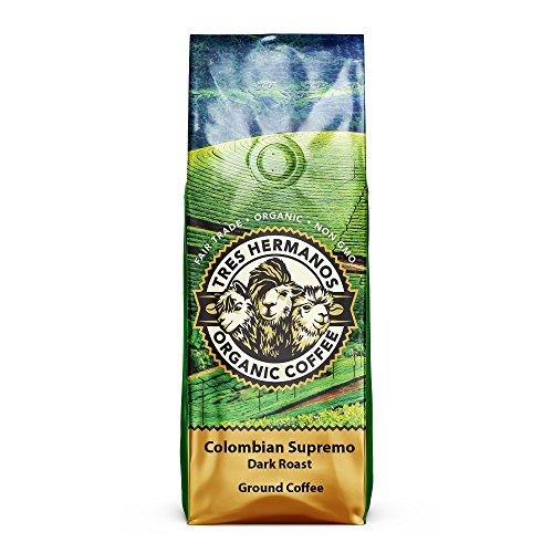 Tres Hermanos Fairtrade Low-Acid Organic Coffee (Colombian Supremo Dark Ground Coffee, 2 lb)