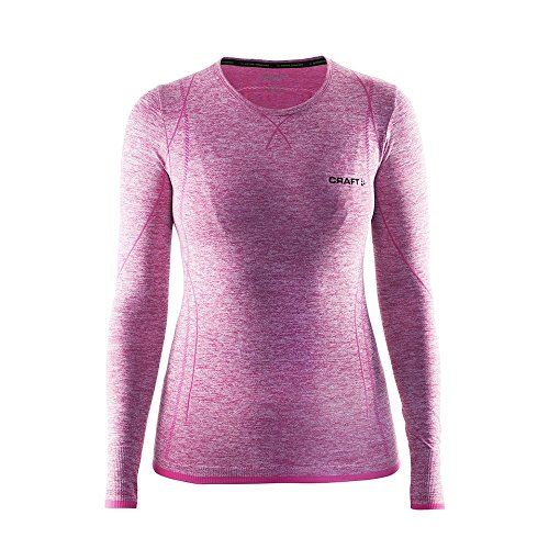 - Craft Sportswear Women's Long Sleeve Active Comfort Roundneck Base Layer Seamless Shirt: cooling/sport/bike/ski/run/sun/protection/top, Smoothie, Large