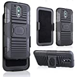 FAD-E Ultimate Shield Series Shock-Proof Armor Back Kickstand Case with Holster Swivel Belt Clip Holder for Moto G4 / Moto G4 Plus / Moto G Plus 4th Gen - Black