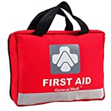 Deluxe First Aid Kit 309 Pieces- Reflective Bag Design - Including Eyewash, Bandages,Moleskin Pad,CPR Face Mask and Emergency Blanket for Travel, Home, Office, Car, Camping, Workplace