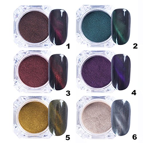 3D Nail Powder - 6 Pieces Cat Eyes Magnet Nail Glitter 3D Powder Magic Magnetic Nail Glitter Dust UV Gel Manicure Nail Art Pigment