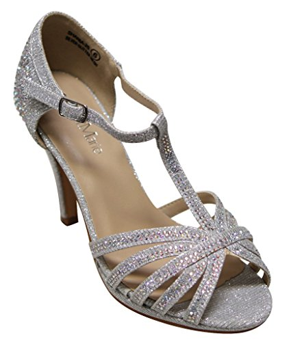 Dance Strappy Sandals (Bella Marie Shania-25 Women's Peep Toe Rhinestone Glitter Strappy Dance Sandals,Silver,9)
