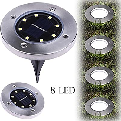 XEDUO LED Solar Powered Ground Light, 8LED Solar Power Buried Light Ground Lamp Light Spot Lamp for Outdoor Path Way Yard Garden Decking Lawn Waterproof