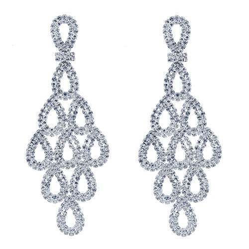 - CHRAN Silver Crystal Teardrop Dangle Earrings Rhinestone Chandelier Bridal Jewelry Long Size 2.87