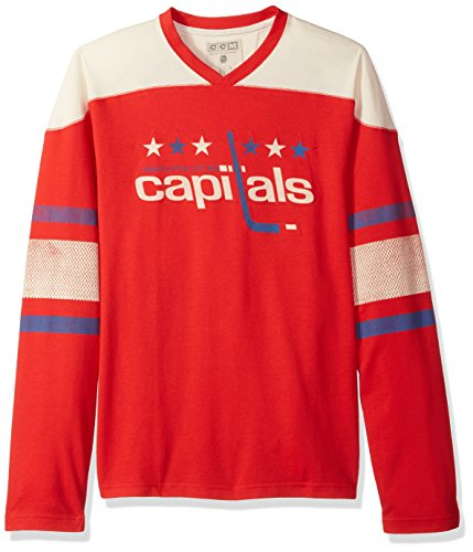 NHL Washington Capitals Mens Ccm L/S Applique Crewccm L/S Applique Crew, Red, Medium