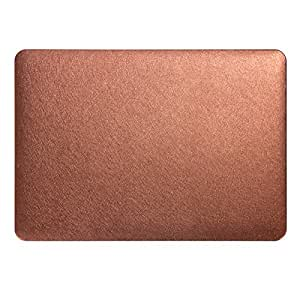 Rubberized Matt Hard Shell Skin Silk Design Leather Case Cover For Mac Book Pro 13 13.3 Inch Brown