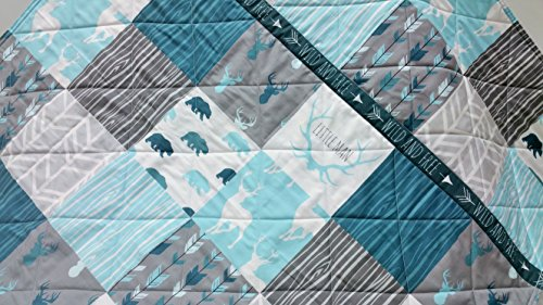 Wild and Free Woodland Baby Boy Quilt -Blues and Grays by Now and Then Quilts