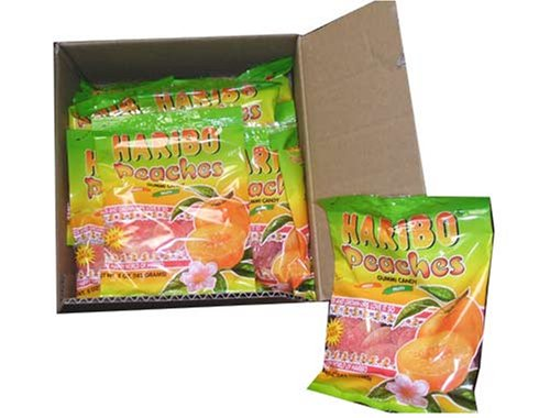 Haribo Gummi Candy, Peaches, 5-ounce Bags (Pack of 24)