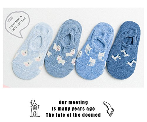 Generic Four pairs of small animal blue cotton dress comfortable and invisible socks four pairs women girls lady socks Gift Box by Generic (Image #2)