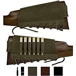 BronzeDog Adjustable Leather Buttstock Cartridge Ammo Holder for Rifles 12 16 Gauge or .30-30 .308 Caliber Hunting Ammo Pouch Bag Stock Right Handed Shotgun Shell Holder (Khaki, 12/16 Gauge)