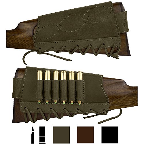 BronzeDog Adjustable Leather Buttstock Cartridge Ammo Holder for Rifles 12 16 Gauge or .30-30 .308 Caliber Hunting Ammo Pouch Bag Stock Right Handed Shotgun Shell Holder (Khaki, 7.62 Caliber)