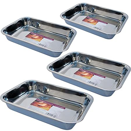 Baking/roasting Dishes Helpful Roasting Tins 4pc Stainless Steel Trays Oven Pan Dish Baking Roaster Tray Grill