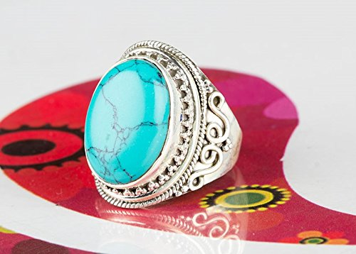 Unique Piece | Turquoise Ring | Oval Stone | Royal Jewelry | Sterling Silver | Gemstone Ring | December Birthstone | Party Wear Jewelry |