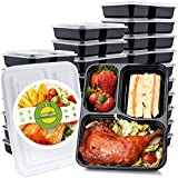 Glotoch 50 Pack 34 oz 3 Compartment Plastic Food Storage Containers Set with Lids - Microwave, Freezer & Dishwasher Safe Eco-