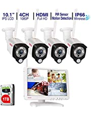 """Tonton All-in-One Home Security Camera System, Full 1080P Wireless NVR with 10.1"""" IPS LCD-Monitor,4PCS 2.0 MP Waterproof Outdoor Indoor Bullet Cameras with 1TB HDD"""