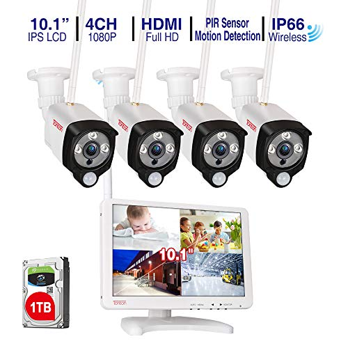[Audio Recording]Tonton Wireless All-in-One Full HD 1080P Security Camera System with 10.1