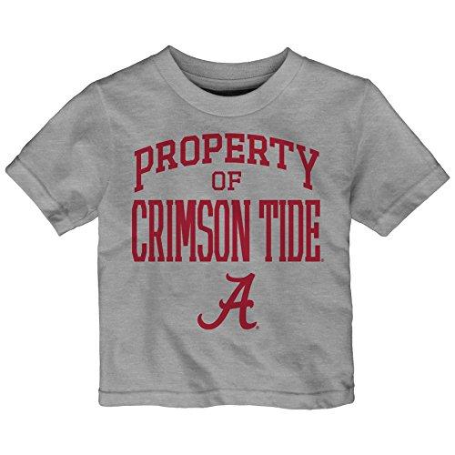 NCAA Alabama Crimson Tide Infant Team Property Short Sleeve Tee, 12 Months, Heather Grey