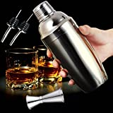 O Cha Kitchen and Bar JINCHAO Cocktail Shaker Set Bartender Kit - with Double Measuring Jigger and 2 Liquor bottle Pourers - 25 ounces Premium Bartender Stainless Steel Martini Mixer Built-in Strainer