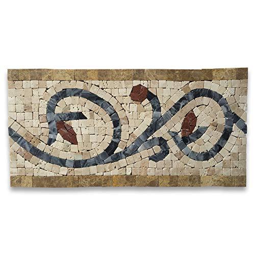 Floral Noce 6x12 Marble Mosaic Border Listello Tile Polished
