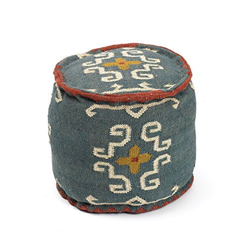 Eclipse Home Collection Round Tribal Kilim Pouf 16'' H x 18'' Dia.