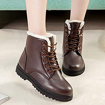 DeemoShop Women Winter Boots PU Leather Snow Ankle Boots Women Winter Boots Shoes Female Warm Fur