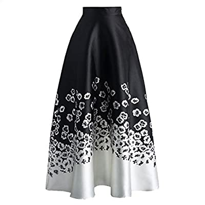 SUBWELL Women's Floral Print Colorblock High Waisted A-line Long Maxi Skirt Dresses