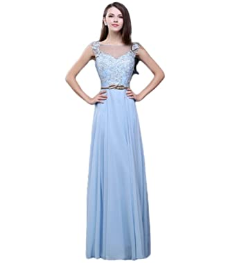 Drasawee Long Slim Chiffon Juniors Prom Dresses Beading Formal Evening Gowns Blue UK22