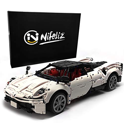 Nifeliz Sports Car HURA MOC Building Blocks and Engineering Toy, Adult Collectible Model Cars Set to Build, 1:9 Scale White Race Car Model (2209 Pcs)