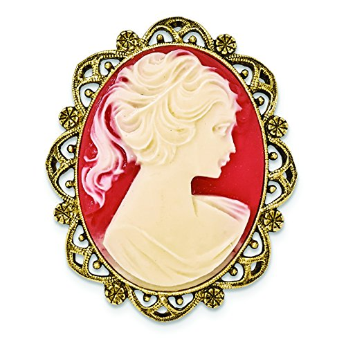 1928 Jewelry Gold-Tone Acrylic Cameo Brooch