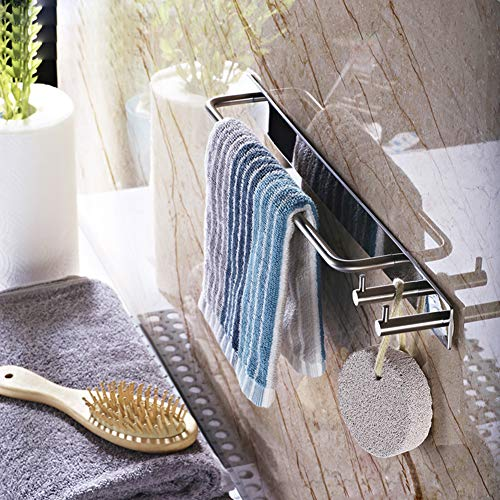 XUEER Stainless Steel Towel Rack,Single Rod Does not Rust,Punch Free Beautiful Matte Texture,Wall-Mounted Suitable for Hotel/Bathroom Creative Hook Towel Rack