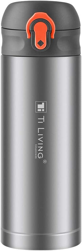 13.7oz Titanium Water Bottle Bouncing Cup Pure Titanium Material Vacuum Insulated Double Walled Construction (400ML) (Orange)