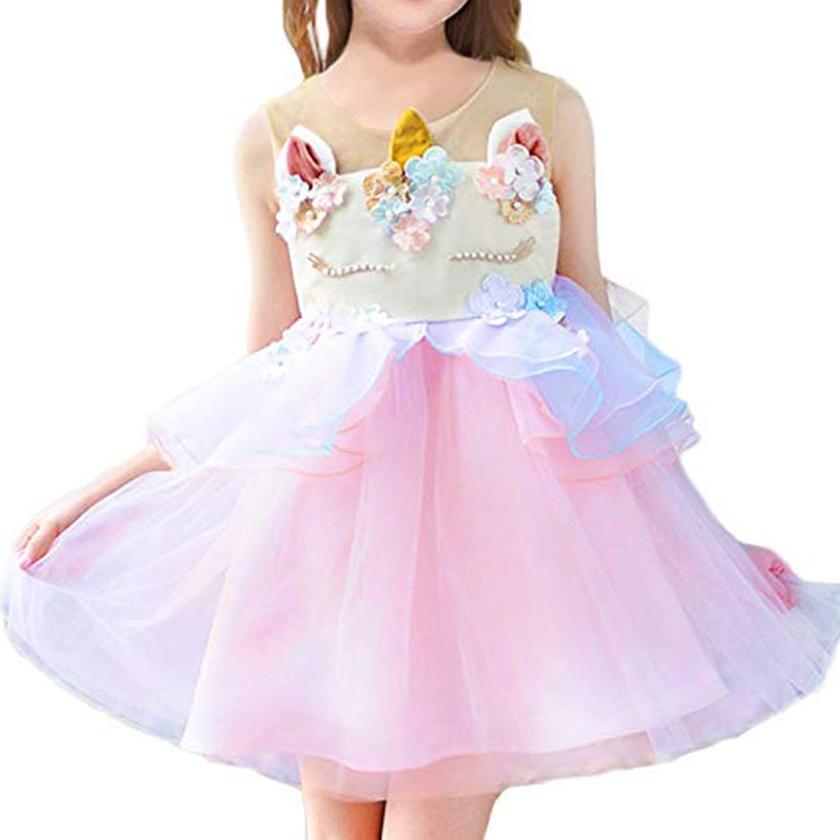 CQDY Unicorn Costume Dress Layered Princess Flower Girl Birthday Party Tulle Cosplay Pageant Dance Outfits Evening Gowns