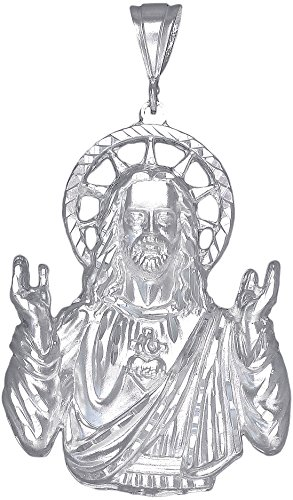 Sterling-Silver-Jesus-Pendant-Necklace-Diamond-Cut-Finish-with-24-Inch-Chain