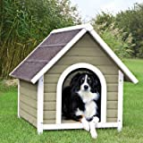 "Cheap Nantucket Dog House Size: Large (37.25"" H x 35.25"" W x 41.5"" D), Color: Gray / White"