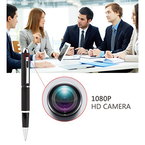 Mini Camera,Real Full HD 1080P Pen Cam Hidden Cameras,Security Surveillance Camera for home, Small Nanny Camcorder Recorder Video DVR with Roller Ball –Black by GIZGA