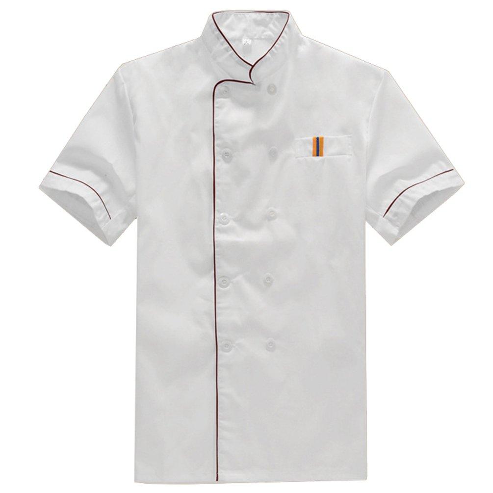 NiSengs Unisex Kochjacke Elegant Rote Kante Design Küchenkleidung mit Tasche Kochkittel Zum Küche Kantine Hotel
