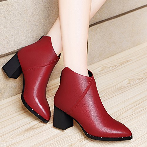 AJUNR-Zapatos De Mujer De Moda Con Martin Botas Gruesas Con 7Cm De Alto, La Punta De Inglaterra, El Elegante Y Versátil Calzado Mujer Botas Cortas Rojo 36 red