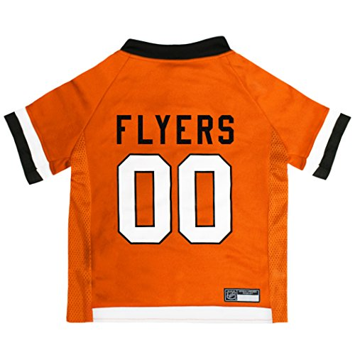 NHL Philadelphia Flyers Jersey for Dogs & Cats, Small. - Let Your Pet be a Real NHL Fan! ()