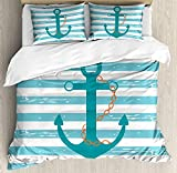 Our Wings Teal Comforter Set,Ship Anchor Chain Marine Life Inspired Lines Background Ocean Sailing Bedding Duvet Cover Sets Boys Girls Bedroom,Zipper Closure,4 Piece,Teal Turquoise White Twin Size