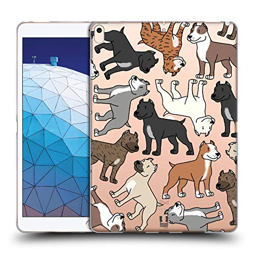 (Head Case Designs Pitbull Terrier Dog Breed Patterns 3 Soft Gel Case Compatible for iPad Air (2019))