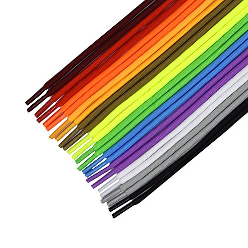 12 Pairs Round Shoelaces Shoe Laces Strings for Sports Shoes Boots Sneakers Skates (Assorted Colors) ()