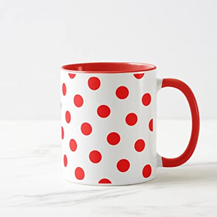 Amazon.com: Zazzle White and Red Polka Dots Coffee Mug, Red Combo ...