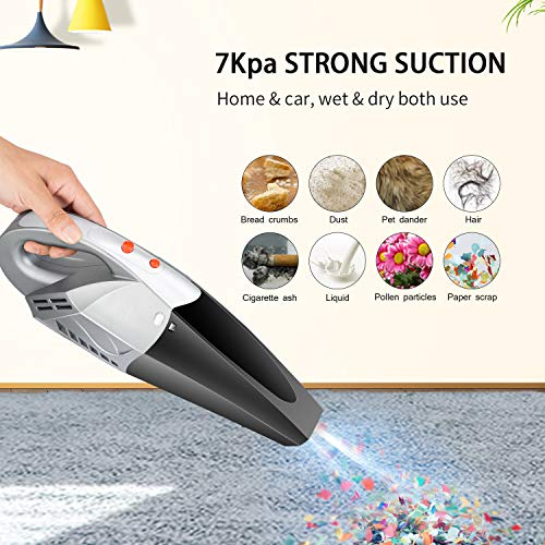 Handheld Vacuum, Portable Handheld Vac, Hand Held Vacuum Cordless Rechargeable for Car and Home, Lightweight Vacuum Cleaner with Powerful Suction, Wet Dry Hand Vac