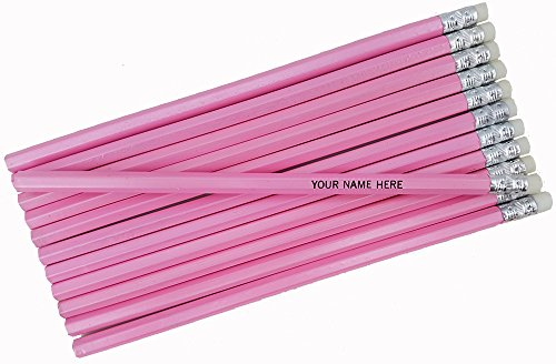 ezpencils - Personalized Pearl Pink Hexagon Pencils - 12 pkg FREE PERZONALIZATION]()