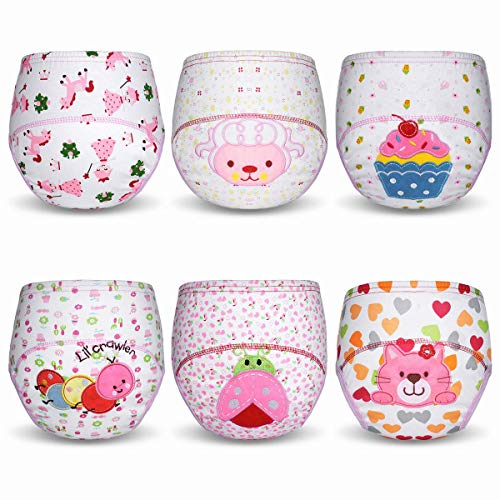 HaimoBurg 6 Pack Baby Toddler Potty Training Pants Reusable Washable Underwears Diapers