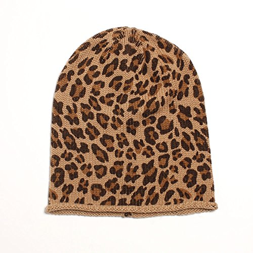 D&Y Women's Leopard Animal Print Slouchy Beanie, Natural, One ()