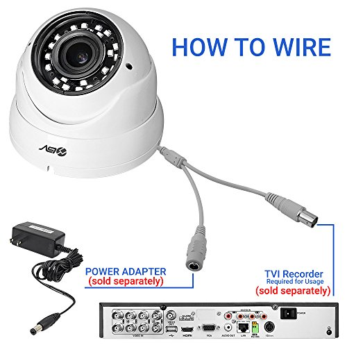 R-Tech RVD70W 1000TVL Outdoor Dome Security Camera with New Style SMD High-Intensity IR LEDs for Night Vision and 2.8-12mm Varifocal Lens (White)