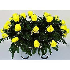 Yellow Roses~Cemetery Arrangement~Graveside Decorations~Headstone Saddle~Saddle Arrangement~Sympathy Flowers~Grave decor~Cemetery Flower Service Subscription Available 1